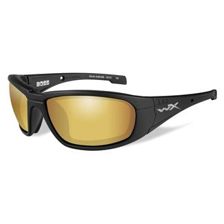 Wiley X Boss Matte Black (frame) - Polarized Venice Gold Mirror (Amber) (lens)