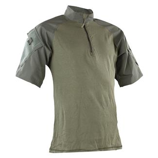 Tru-Spec Nylon / Cotton 1/4 Zip Short Sleeve Combat Shirt Olive Drab / Olive Drab