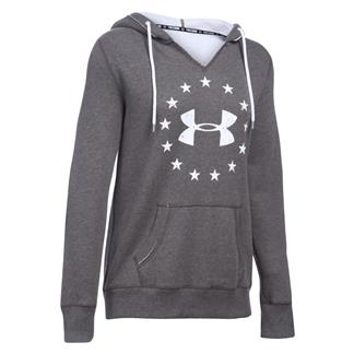 Under Armour ColdGear Freedom Favorite Fleece Hoodie Carbon Heather / White