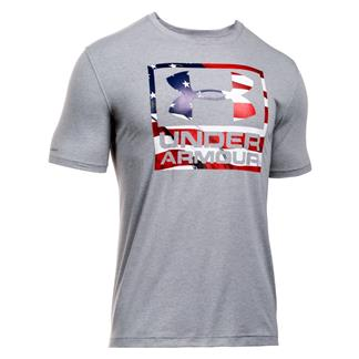 Under Armour HeatGear Big Flag Logo T-Shirt True Gray Heather / Black
