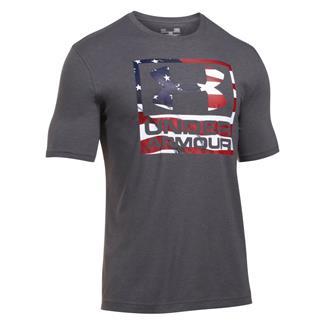 Under Armour HeatGear Big Flag Logo T-Shirt Carbon Heather / White
