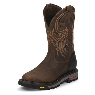 "Justin Original Work Boots 11"" Commander-X5 Round Toe ST WP Tumbled Mahogany"