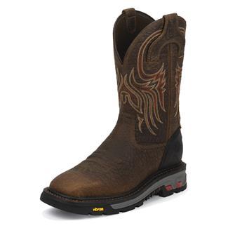 """Justin Original Work Boots 11"""" Commander-X5 Square Toe Tumbled Mahogany"""