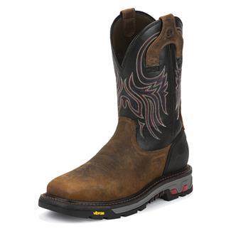 "Justin Original Work Boots 11"" Commander-X5 Square Toe ST Black Onyx"