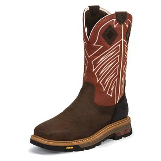 "Justin Original Work Boots 11"" Commander-X5 Square Toe ST WP Dark Chestnut / Red Pepper"