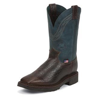 "Justin Original Work Boots 11"" J-Max Caliber Square Toe Yeti / Navy Crazyhorse"