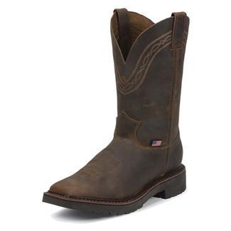 "Justin Original Work Boots 11"" J-Max Caliber Square Toe ST Tan Crazyhorse"