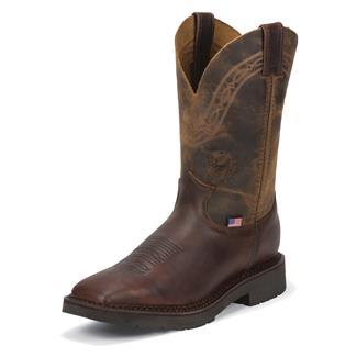 "Justin Original Work Boots 11"" J-Max Caliber Square Toe ST Briar Pitstop / Suntan Zulu"