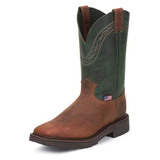 "Justin Original Work Boots 11"" J-Max Caliber Square Toe ST Cognac Zulu / Evergreen Crazyhorse"