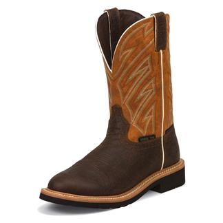 """Justin Original Work Boots 11"""" Stampede Round Toe ST Dark Chestnut / Parched Orange"""