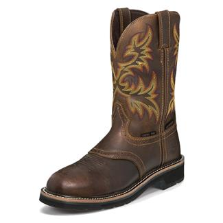 "Justin Original Work Boots 11"" Stampede Round Toe ST WP Rugged Tan"