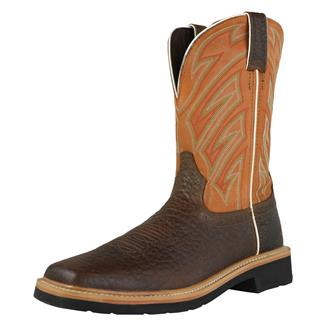 """Justin Original Work Boots 11"""" Stampede Square Toe Dark Chestnut / Parched Orange"""