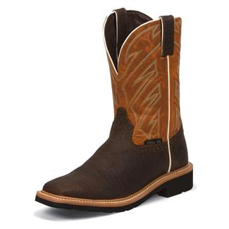 "Justin Original Work Boots 11"" Stampede Square Toe ST Dark Chestnut / Parched Orange"