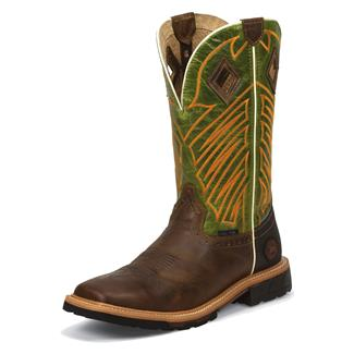"""Justin Original Work Boots 12"""" Hybred Square Toe ST Rugged Tan / Grass Green Crunch"""