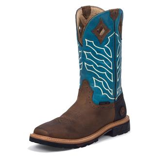 "Justin Original Work Boots 12"" Hybred Square Toe ST WP Peanut Wyoming / Turquoise Crunch"