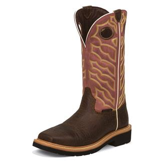 "Justin Original Work Boots 13"" Stampede Square Toe ST Dark Chestnut / Brick Red Crunch"