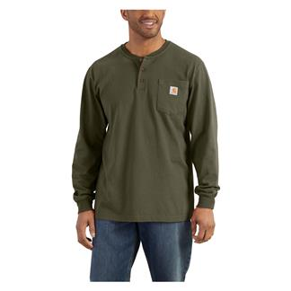 Carhartt Long Sleeve Workwear Pocket Henley Army Green