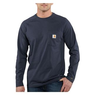 Carhartt Long Sleeve Force Delmont T-Shirt Navy