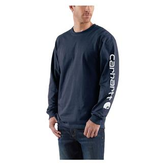 Carhartt Long Sleeve Logo T-Shirt Navy