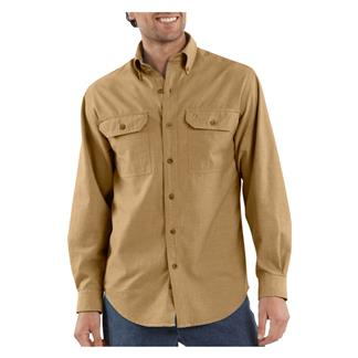 Carhartt Long Sleeve Fort Solid Shirt Dark Tan Chambray