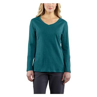 Carhartt Long Sleeve Calumet V-Neck T-Shirt Teal Blue Heather