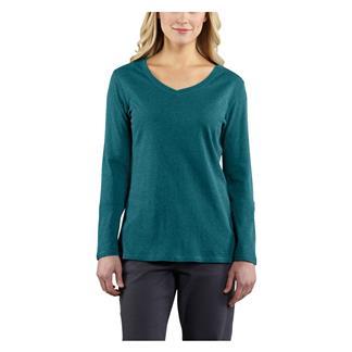 Carhartt Long Sleeve Calumet V-Neck T-Shirt Teal Blue Heather