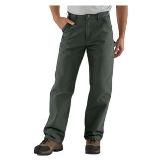 Carhartt Washed Duck Work Dungaree Pants Moss