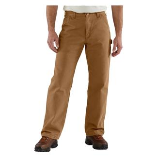 Carhartt Washed Duck Flannel Lined Work Dungaree Pants Carhartt Brown