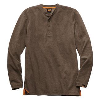 Timberland PRO Mad As Henley Long Sleeve Shirt Dark Brown Heather