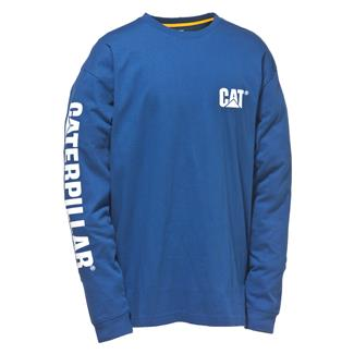 CAT Long Sleeve Trademark Banner T-Shirt Bright Blue