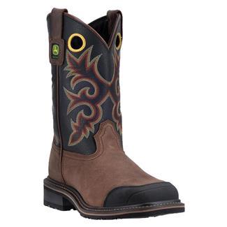 """John Deere 11"""" Pull-On Western Work Rubber Toe Brown / Black"""