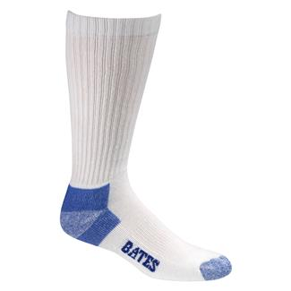 Bates Cotton Comfort Crew Socks - 12 Pair White