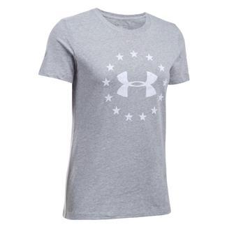 Under Armour HeatGear Freedom T-Shirt True Gray Heather / White