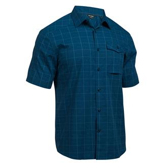Under Armour Concealed Carry Short Sleeve Button Up Blackout Navy (Arena Plaid)