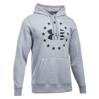 Under Armour Freedom Big Flag Logo Rival Hoodie True Gray Heather / Black