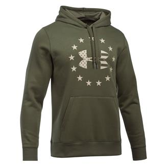 Under Armour Freedom Big Flag Logo Rival Hoodie Marine OD Green / Desert Sand