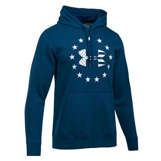 Under Armour Freedom Big Flag Logo Rival Hoodie Blackout Navy / White