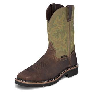 "Justin Original Work Boots 11"" Stampede Broad Square Toe Met Guard ST WP Dark Waxy Brown / Moss Green"