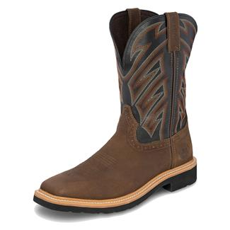 """Justin Original Work Boots 11"""" Stampede Broad Square Toe Aged Whiskey / Parched Black"""