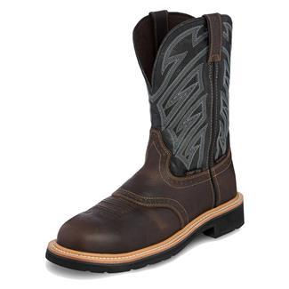 "Justin Original Work Boots 11"" Stampede Broad Round Toe CT WP Dark Waxy Brown / Parched Black"