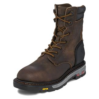 "Justin Original Work Boots 8"" Commander-X5 Round Toe WP Whiskey Barrel Buffalo"
