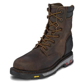 "Justin Original Work Boots 8"" Commander-X5 Round Toe 400G CT WP Whiskey Barrel Buffalo"