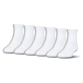 Under Armour Charged Cotton 2.0 Quarter Socks - 6 Pack White