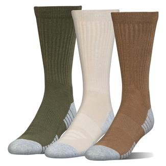 Under Armour HeatGear Tech Crew Socks - 3 Pack Coyote Brown / Asst