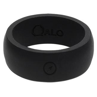 Qalo Black Silicone Ring with Compass Black
