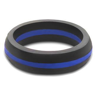 Qalo Thin Blue Line Silicone Ring Blue