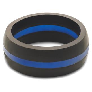 Qalo Thin Blue Line Silicone Ring Blue