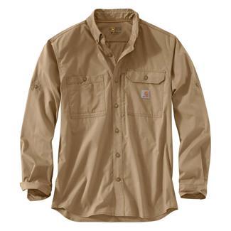 Carhartt Force Ridgefield Solid Long Sleeve Shirt Dark Khaki
