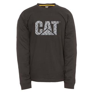 CAT Long Sleeve Custom Logo T-Shirt Black / Diamond Plate