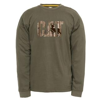 CAT Long Sleeve Custom Logo T-Shirt Army Moss / Whitetail